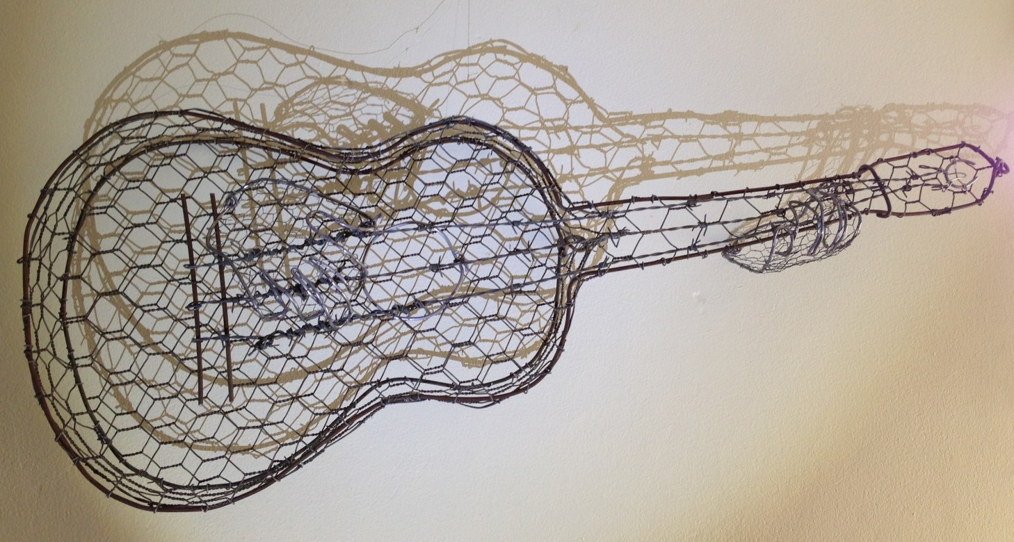 The Tin Mans Guitar Recycled Barbed Wire Sculpture ...